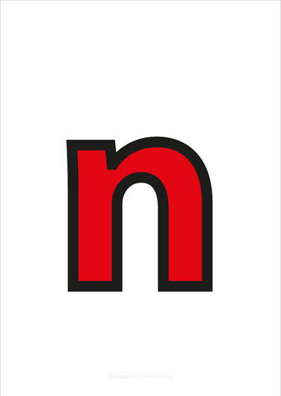 n lower case letter red with black contours