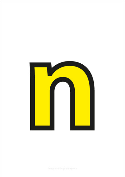 n lower case letter yellow with black contours