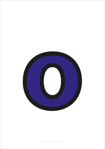 o lower case letter blue with black contours