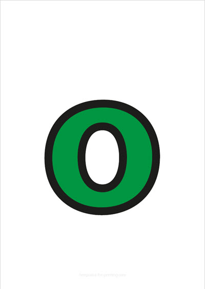 o lower case letter green with black contours