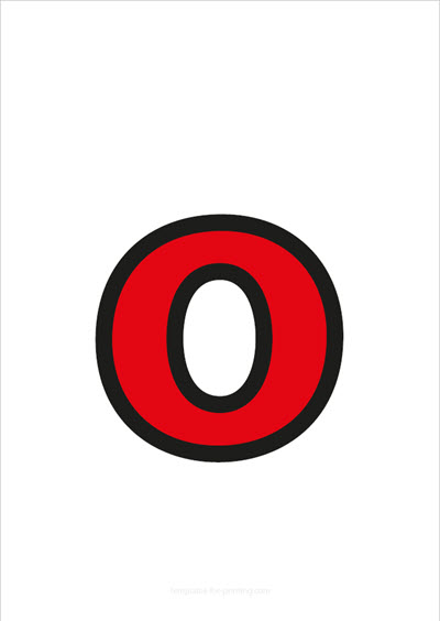 o lower case letter red with black contours