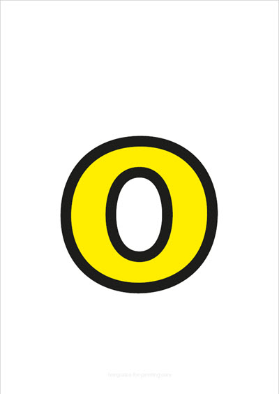 o lower case letter yellow with black contours