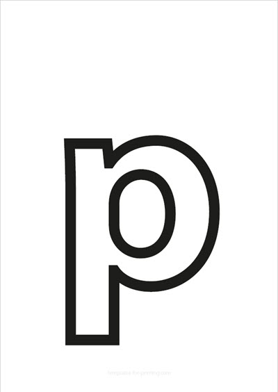 p lower case letter black only contour