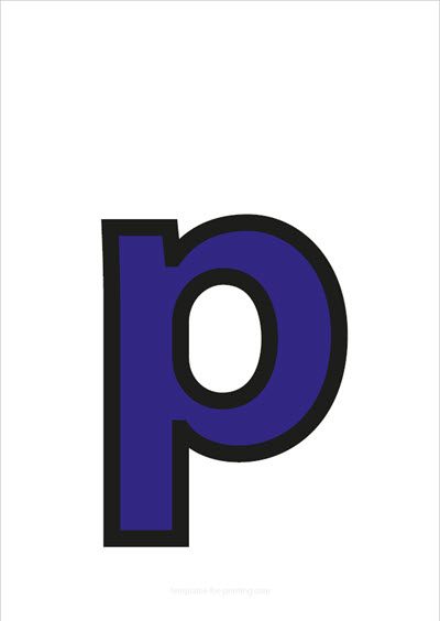 p lower case letter blue with black contours