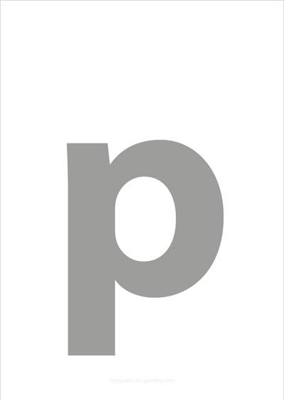 p lower case letter gray