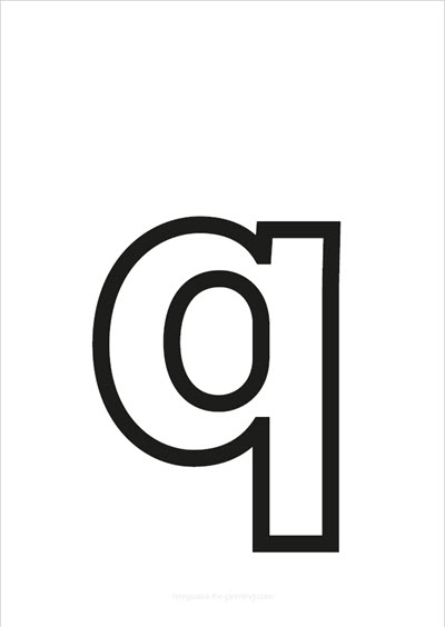 q lower case letter black only contour
