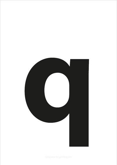 q lower case letter black
