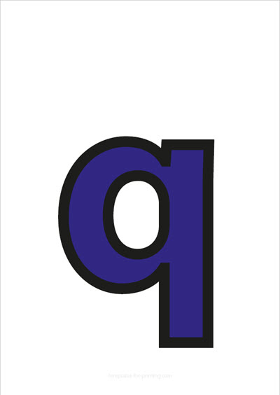 q lower case letter blue with black contours