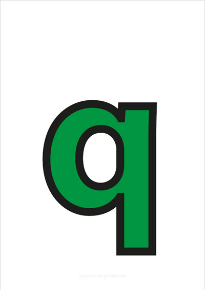 q lower case letter green with black contours