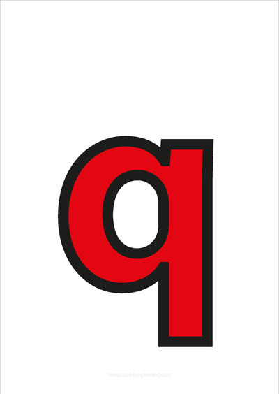 q lower case letter red with black contours