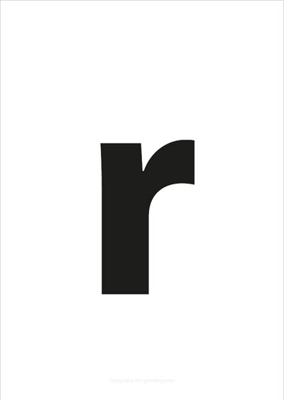 r lower case letter black