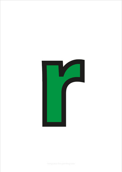 r lower case letter green with black contours