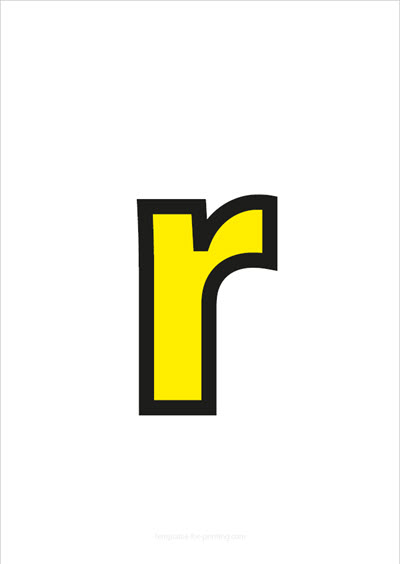 r lower case letter yellow with black contours