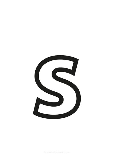 s lower case letter black only contour