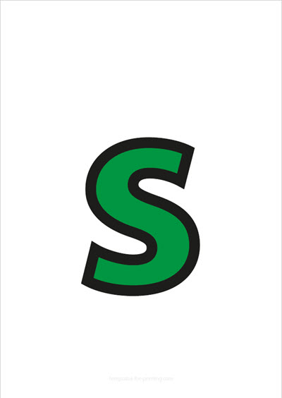 s lower case letter green with black contours