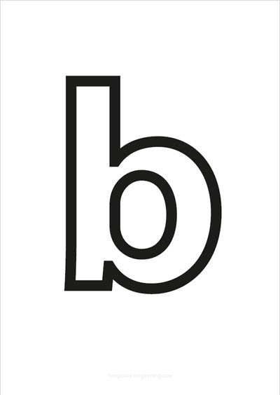 b lower case letter black only contour