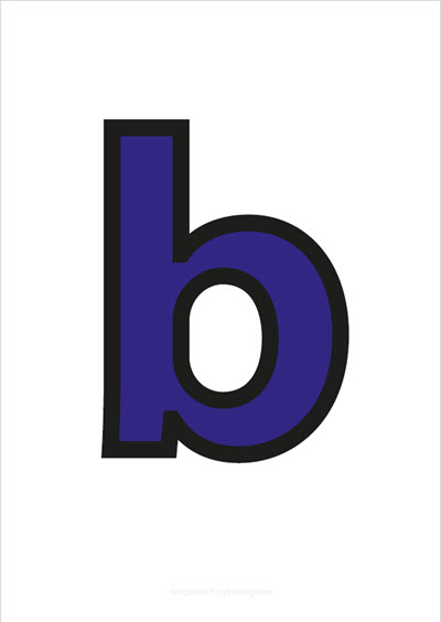 b lower case letter blue with black contours