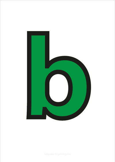 b lower case letter green with black contours