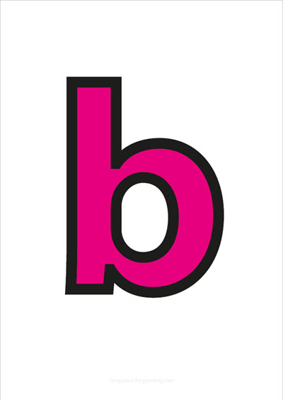 b lower case letter pink with black contours