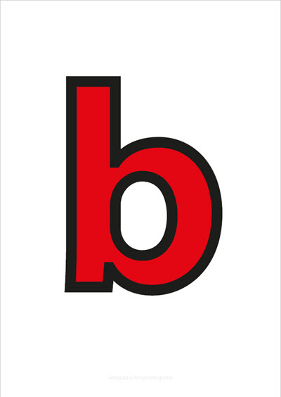 b lower case letter red with black contours