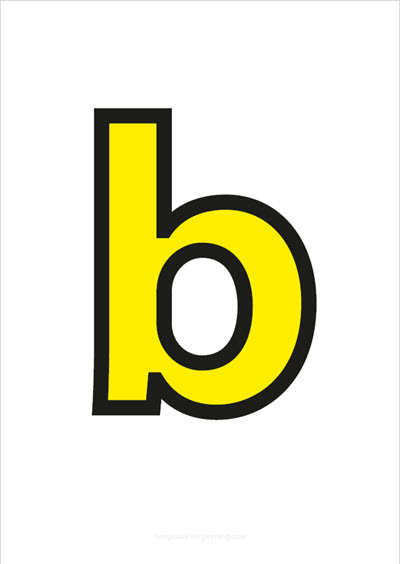 b lower case letter yellow with black contours
