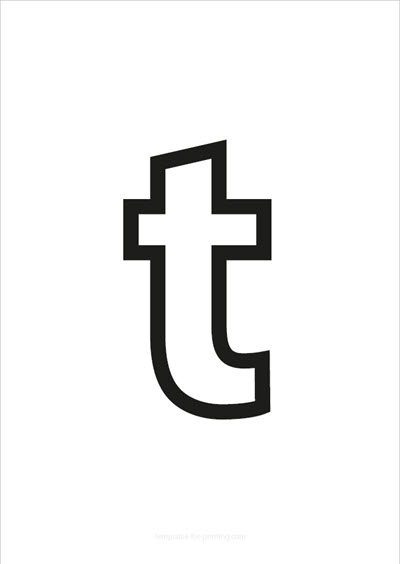 t lower case letter black only contour