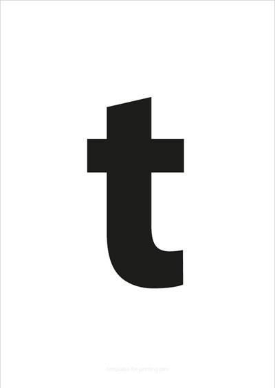 t lower case letter black