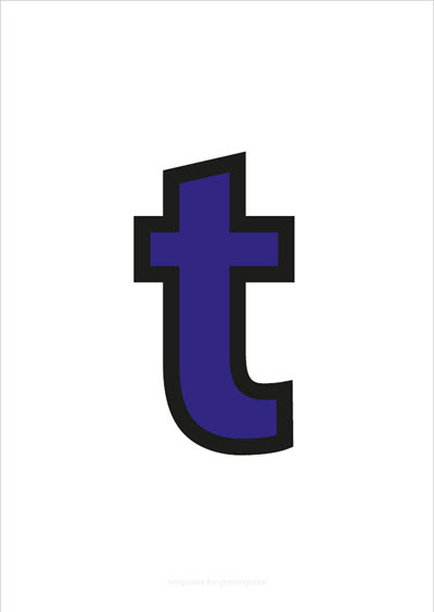 t lower case letter blue with black contours