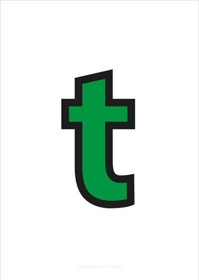t lower case letter green with black contours
