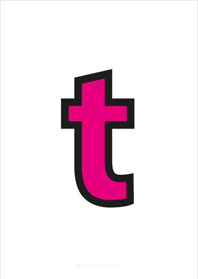t lower case letter pink with black contours