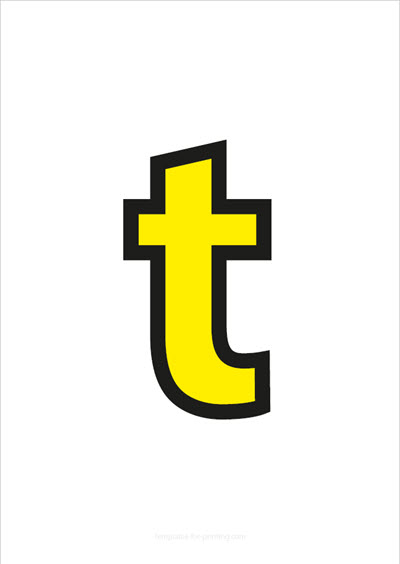 t lower case letter yellow with black contours