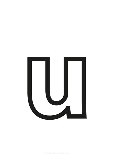 u lower case letter black only contour