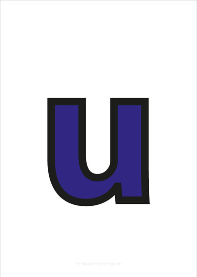 u lower case letter blue with black contours