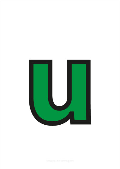 u lower case letter green with black contours