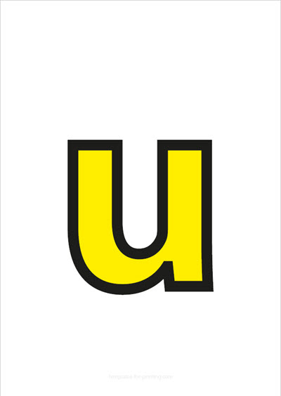 u lower case letter yellow with black contours