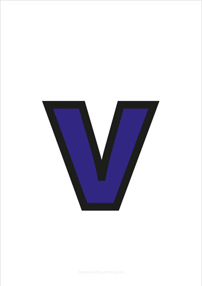 v lower case letter blue with black contours