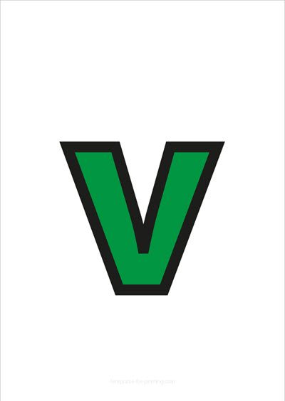 v lower case letter green with black contours