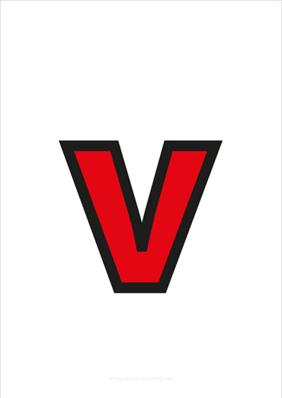 v lower case letter red with black contours