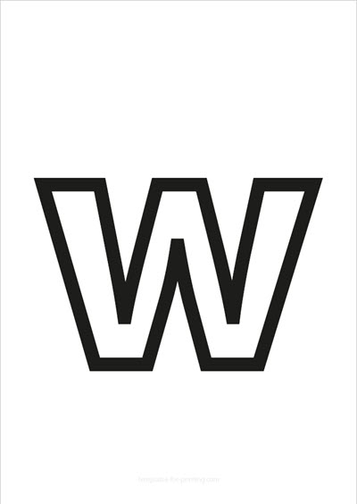 w lower case letter black only contour