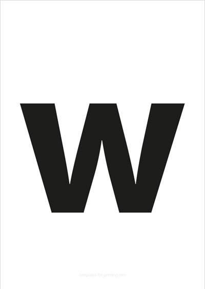 w lower case letter black