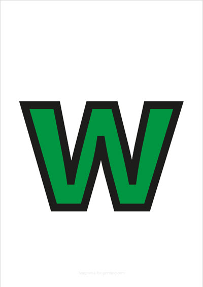 w lower case letter green with black contours