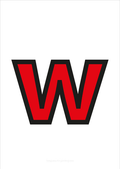 w lower case letter red with black contours