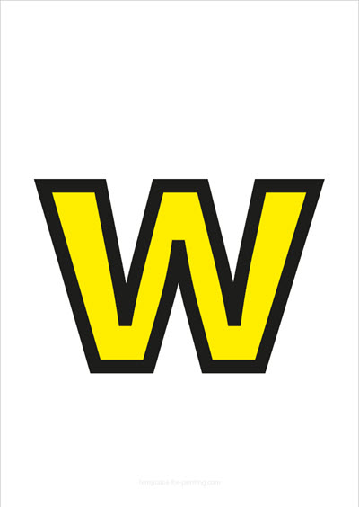 w lower case letter yellow with black contours