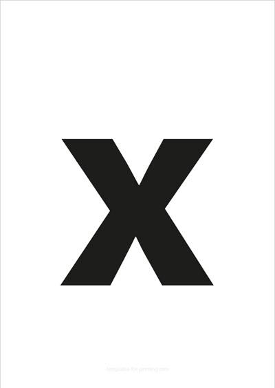 x lower case letter black
