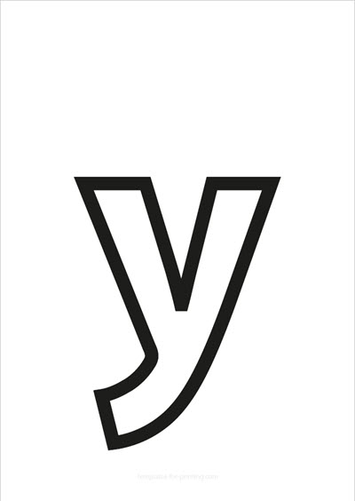 y lower case letter black only contour
