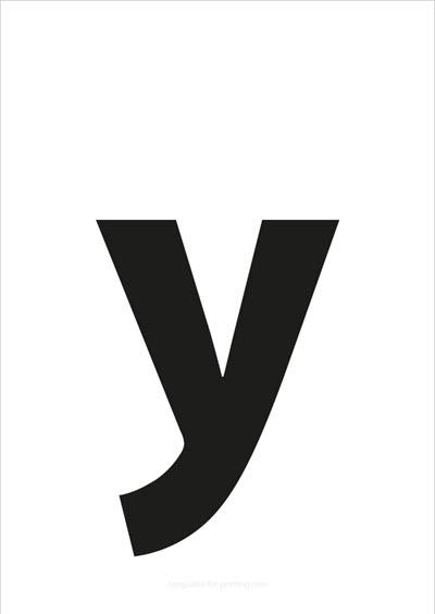 y lower case letter black