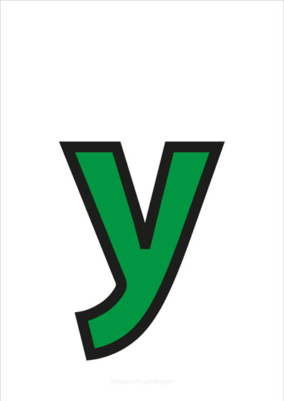 y lower case letter green with black contours