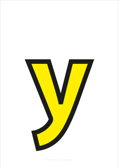 y lower case letter yellow with black contours
