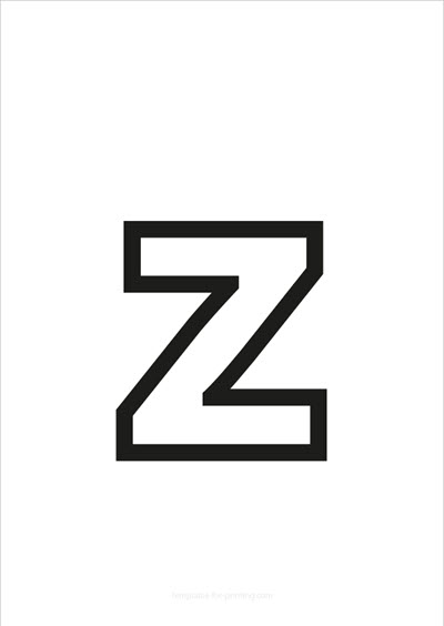 z lower case letter black only contour