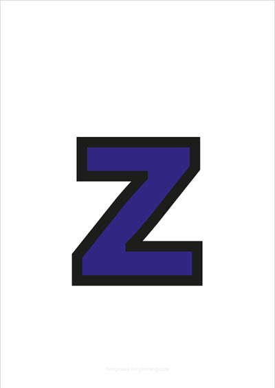 z lower case letter blue with black contours